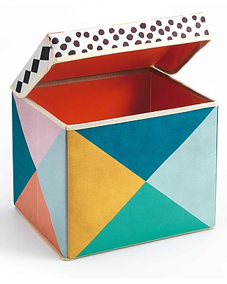 Djeco Seat Toy Box, Geometry - Non Woven Fabric Toy Storage Boxes