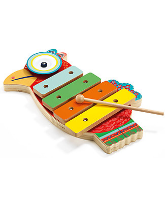 Djeco Wooden Musical Parrot, Animambo - Cymbal and Xylophone Musical Instruments
