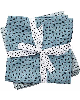 Done By Deer 2-Pack Burp Cloth Happy Dots, Blue - 70x70 cm - 100% cotton Burpy Bibs