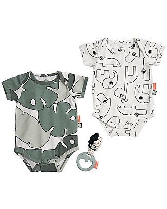 Done By Deer Baby Body Set & Rattle - Tiny Tropics - Suitable from Birth Short Sleeves Bodies