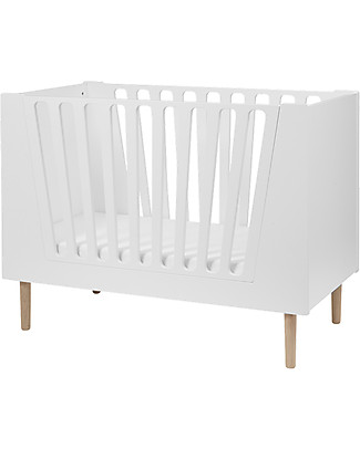 Done By Deer Baby Cot 4in1 with Rails, White - 60x120 cm Single Bed