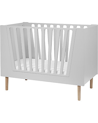 Done By Deer Baby Cot - 70 X 140 Cm - Grey - Suitable from Birth Single Bed