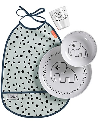 Done By Deer Baby Dinner Set Happy Dots, Blue - 3 pieces + waterproof bib included! Meal Sets