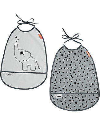 Done By Deer Bib - 2-Pack - Elphee - Grey Tones - Suitable from Birth Snap Bibs