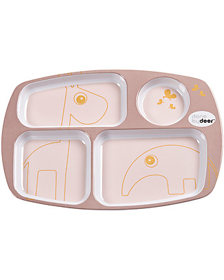 Done By Deer Compartment Plate - Contour - Powder/Gold - Suitable from Birth Bowls & Plates