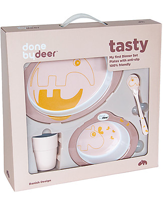 Done By Deer Dinner Set - Contour - Powder/Gold - Suitable from Birth Meal Sets