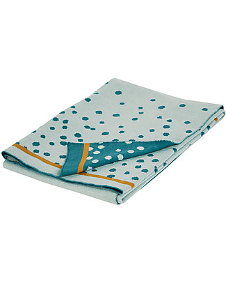 Done By Deer Knitted Blanket Happy Dots 80x100 cm, Blue - 100% cotone Blankets