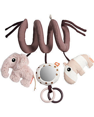 Done By Deer MultiActivity Spiral Baby Toy with Teething Rings, Powder - Suitable from Birth Baby Gym
