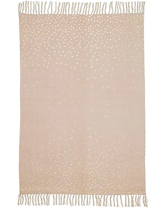 Done By Deer Polka Dots Rug with Fringes, Powder/Gold - 90x120 cm - 100% cotton Carpets