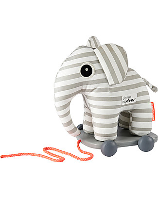 Done By Deer Pull Along Toy Elphee, Grey Stripes - Develop Motor Skills Wooden Push & Pull Toys