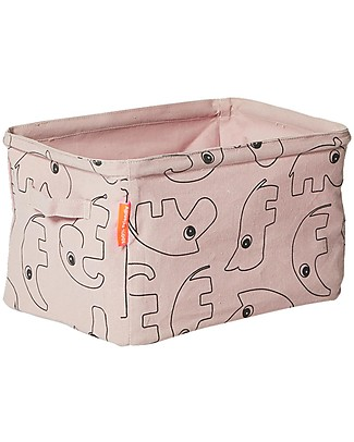 Done By Deer Reversible Soft Storage Basket with Handles, Powder - Cotton Toy Storage Boxes