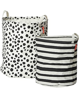 Done By Deer Soft Storage Basket Stripes/Polka dots 2 Pieces Set, Black - With handles Toy Storage Boxes