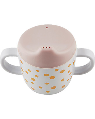 Done By Deer Spout Cup with Handles Happy Dots, Gold/Powder - 230 ml Cups & Beakers
