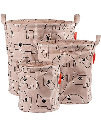 Done By Deer Storage Baskets Contour 3 Pieces Set, Powder - With handles Toy Storage Boxes