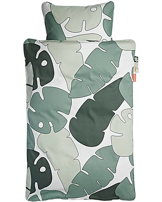Done by Deer Tiny Tropics Bedding Set Duvet Cover and Pillowcase Tiny Tropics - Junior 100 x 140 cm with Large Pillowcase- 100% cotton Bed Sheets