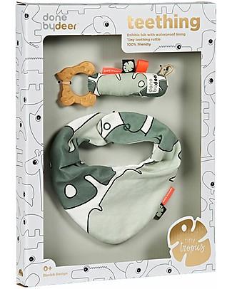 Done by Deer Tiny Tropics Bib & Teether Gift Box - Tiny Tropics - Suitable from Birth Snap Bibs