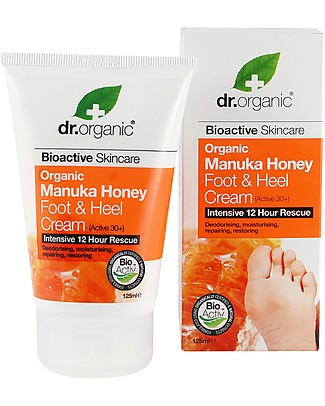 Dr.Organic Manuka Honey Foot & Heel Cream, 125 ml - to Soften Calluses Body Lotions And Oils