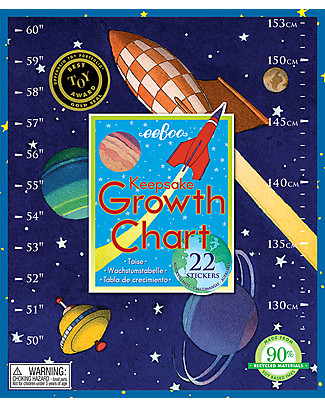 eeBoo Outer Space Growth Chart – With 22 stickers! Science and Nature