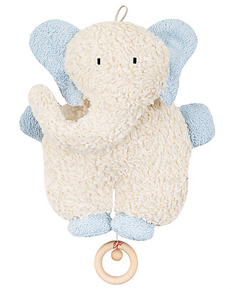 Efie Organic Cotton and Wool Musical Toy, Light Blue Elephant - 27 cm, Great gift idea! Soft Toys
