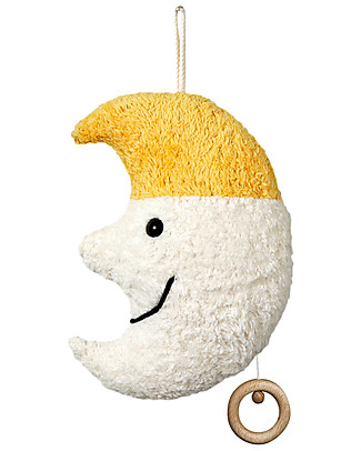 Efie Organic Cotton and Wool Musical Toy, Moon - 16 cm, Great gift idea! Soft Toys