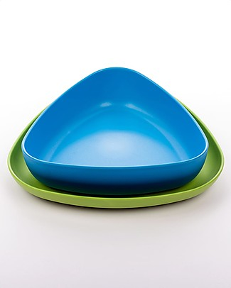 eKoala Bioplastic Lunch Set eKkolì - Bowl and Plate, Light Blue/Green Bowls & Plates