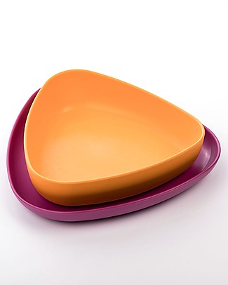 eKoala Bioplastic Lunch Set eKkolì - Bowl and Plate, Orange/Purple Bowls & Plates