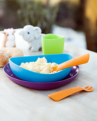 eKoala eKeat - First Meal Set - Blue - Natural Bioplastic, 100% Biodegradable, Made in Italy Meal Sets