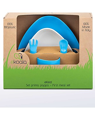 eKoala eKeat - First Meal Set - eKoBoy - Natural Bioplastic, 100% Biodegradable, Made in Italy Meal Sets