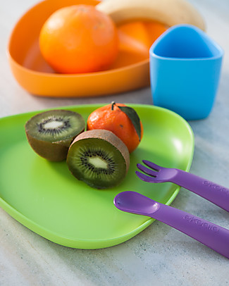 eKoala eKeat - First Meal Set - Orange - Natural Bioplastic, 100% Biodegradable, Made in Italy Meal Sets
