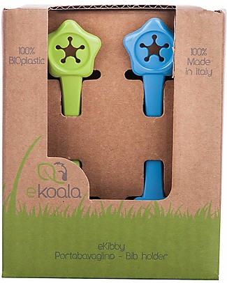 eKoala eKibby - Set of 2 Bibholders Green/Blue - Natural Bioplastic, 100% Biodegradable, Made in Italy Snap Bibs