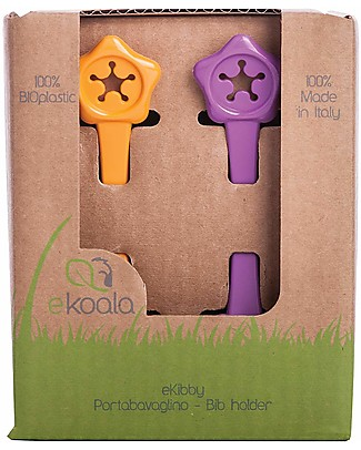 eKoala eKibby - Set of 2 Bibholders Orange/Purple - Natural Bioplastic, 100% Biodegradable, Made in Italy Snap Bibs