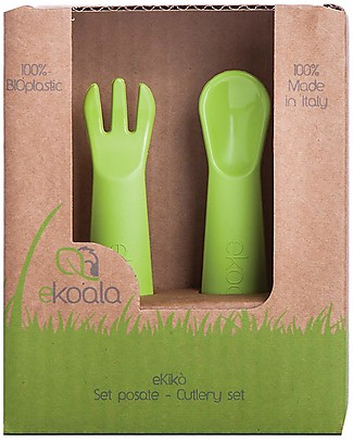 eKoala eKikò - Fork and Spoon Set, Green - Natural Bioplastic, 100% Biodegradable, Made in Italy Spoons, Cutlery & Chopsticks