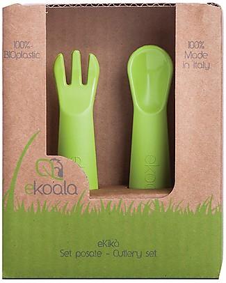 eKoala eKikò - Fork and Spoon Set, Green - Natural Bioplastic, 100% Biodegradable, Made in Italy Spoons, Cutlery & Chopsticks
