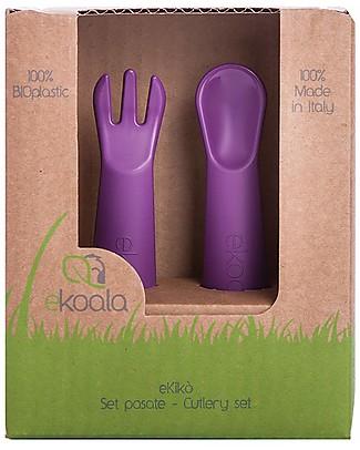 eKoala eKikò - Fork and Spoon Set, Viola - Natural Bioplastic, 100% Biodegradable, Made in Italy Spoons, Cutlery & Chopsticks