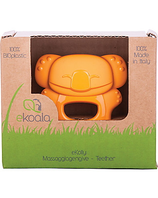 eKoala eKolly - Orange Teether - Natural Bioplastic, 100% Biodegradable, Made in Italy Dummies & Soothers