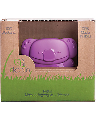 eKoala eKolly - Purple Teether - Natural Bioplastic, 100% Biodegradable, Made in Italy Dummies & Soothers