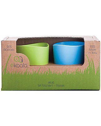 eKoala eKuà - Set of 2 Beakers - Green/Blue - Natural Bioplastic, 100% Biodegradable, Made in Italy Cups & Beakers