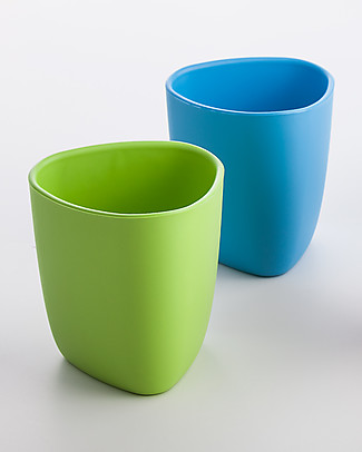 eKoala eKuà - Set of 2 Beakers - Green/Blue - Natural Bioplastic, 100% Biodegradable, Made in Italy null