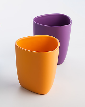 eKoala eKuà - Set of 2 Beakers - Orange/Purple - Natural Bioplastic, 100% Biodegradable, Made in Italy Cups & Beakers
