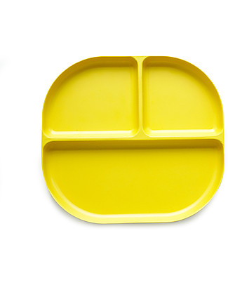 Ekobo Bambino Divided Tray in Bamboo fibre, Lemon - Durable and Eco-friendly Bowls & Plates