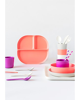 Ekobo Divided Tray in Bamboo fibre, Coral - Durable and Eco-friendly Bowls & Plates