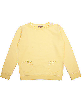 Emile et Ida Baby Girl's Sweater with Apple Applique, Yellow – 100% cotton Sweatshirts