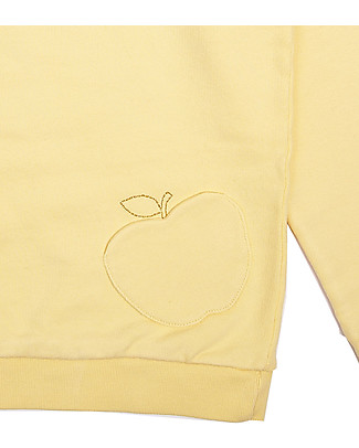 Emile et Ida Baby Girl's Sweater with Apple Applique, Yellow - 100% cotton Sweatshirts