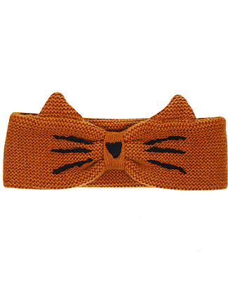 Emile et Ida Cat Wool Headband, Brown - Handmade embroidery! Hats