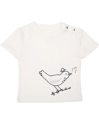 Emile et Ida Emboridered Baby T-Shirt, Bird/Pale Blue – 100% cotton T-Shirts And Vests