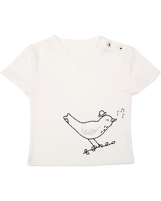 Emile et Ida Emboridered Baby T-Shirt, Bird+Pale Blue - 100% cotton T-Shirts And Vests