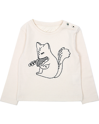 Emile et Ida Embroidered Baby Long Sleeved T-Shirt, Ecrù - 100% cotton jersey Long Sleeves Tops