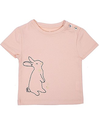 Emile et Ida Embroidered Baby T-Shirt, Bunny/Pale Pink – 100% cotton T-Shirts And Vests