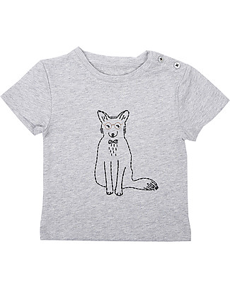 Emile et Ida Embroidered Baby T-Shirt, Fox+Grey - 100% cotton T-Shirts And Vests