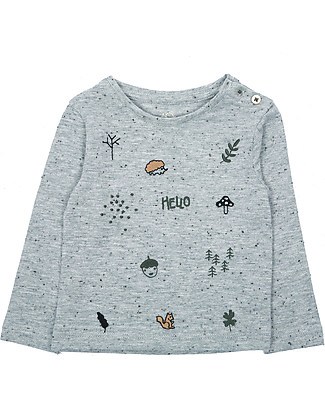 Emile et Ida Embroidered Long Sleeved T-Shirt, Woods - Cotton jersey Long Sleeves Tops